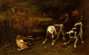 Realisme - Gustave Courbet - schilderij - Hunting Dogs With Dead Hare - Artleader.com
