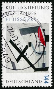 El Lissitzky - Suprematisme kunst - Stamp printed in Germany shows Proun 30t,