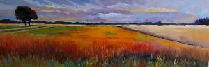 Dit schilderij in olieverf op doek kopen van de kunstenaar Adriana Mast toont een weids landschap van de esgronden met ondergaande zon